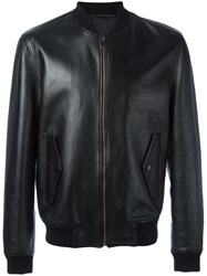 Versace Collection Leather Bomber Jacket Black