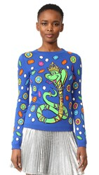 Moschino Long Sleeve Sweater Fantasy Print Blue