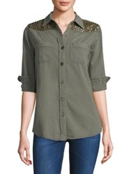 Sandrine Rose Studded Button Front Shirt Army Green