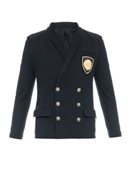 Balmain Double Breasted Crest Embroidered Cardigan