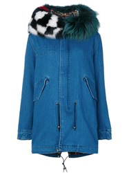 Mr And Mrs Italy Casual Parka Women Silk Cotton Lamb Skin Polystyrene Xs Blue