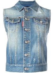 Dsquared2 Microstudded Sleeveless Denim Jacket Blue