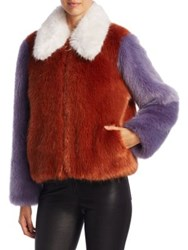 Lpa Faux Fur Jacket Rust And Lilac