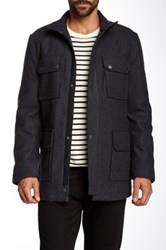 Ben Sherman Melton Wool Blend Military Coat Gray