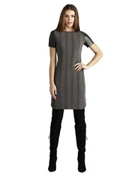 Donna Morgan Cable Knit Faux Leather Sleeve Shirt Dress Graphite