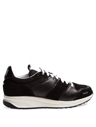 Ami Alexandre Mattiussi Low Top Leather And Suede Panelled Trainers Black