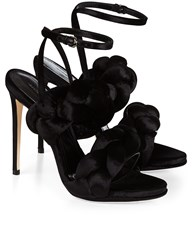 Marco De Vincenzo Black Velvet Braided Sandals
