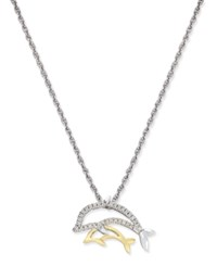 Macy's Diamond Mother And Child Dolphin Pendant Necklace 1 10 Ct. T.W. In Sterling Silver And 14K Gold Two Tone