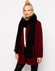 Monki Ramona Chunky Knit Scarf Black