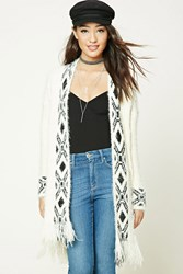 Forever 21 Tribal Print Cardigan Cream Black
