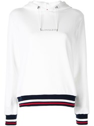 Loveless Logo Striped Hoodie White