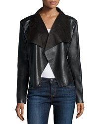 Bagatelle Long Sleeve Faux Leather Draped Jacket Black