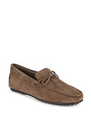 Tod's Suede Tie Moccasins Brown