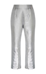 Isa Arfen Metallic Cropped Pants Silver