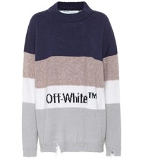 Off White Wool And Cotton Blend Sweater Multicoloured