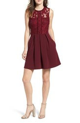 Speechless Lace Fit And Flare Dress Wine