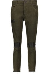 Rta Blake Distressed Stretch Suede Skinny Pants Army Green