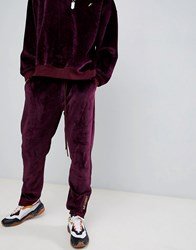 Fairplay Velour Joggers With Embroidery In Burgundy Red