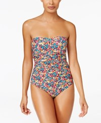 Anne Cole Budding Romance Floral Print Shirred Bandeau One Piece Swimsuit Women's Swimsuit Multi