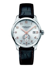 Hamilton Jazzmaster Maestro Small Second Auto Stainless Steel And Embossed Leather Strap Watch Black Silver