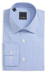 David Donahue Men's Big And Tall Regular Fit Check Dress Shirt White Blue