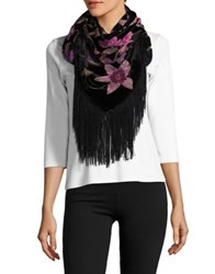 Collection 18 Floral Square Scarf Wine