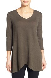 Women's Eileen Fisher Hemp And Organic Cotton V Neck Tunic Oregano