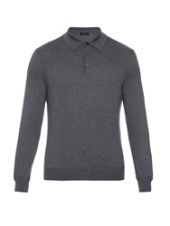 Ermenegildo Zegna Long Sleeved Wool And Cashmere Blend Polo Shirt