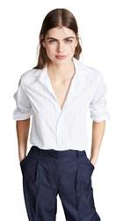 Frank And Eileen Long Sleeve Button Down Shirt White And Wide Blue Stripe