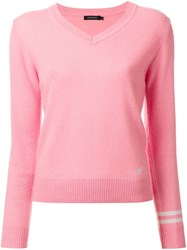 Loveless V Neck Jumper Pink Purple