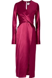 Dion Lee Wrap Effect Silk Satin And Crepe De Chine Midi Dress Red