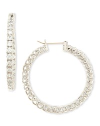 Large Cubic Zirconia Hoop Earrings 3.2 Tcw Fantasia By Deserio Clear