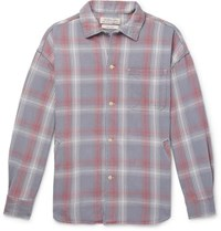 Remi Relief Checked Cotton Flannel Shirt Blue