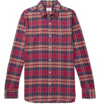 Aspesi Slim Fit Checked Cotton Flannel Shirt Red