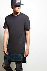 Forever 21 Cross Colours Plaid Hem Tee Black Navy
