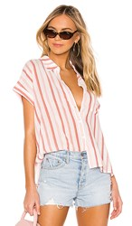 Sanctuary Mod Short Sleeve Boyfriend Shirt In Red. Painted Pottery Stripe
