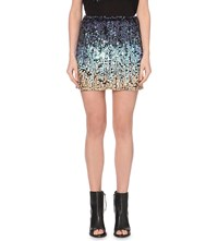 French Connection Cosmic Beam Sequinned Mini Skirt Blue