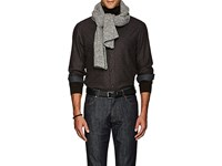 Inis Meain Men's Donegal Effect Rib Knit Merino Wool Cashmere Scarf Grey Light Grey