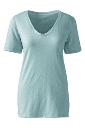 Lands' End Cotton Modal Slub V Neck Tee Green