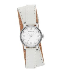 30Mm Round Stainless Watch With Double Wrap White Leather Strap