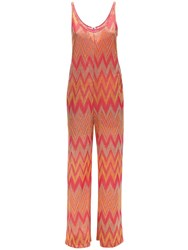 M Missoni Lurex Jersey Jumpsuit Orange