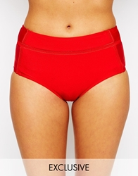 South Beach Nicola High Waisted Bikini Bottom Red