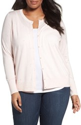 Sejour Plus Size Women's Print Crewneck Cardigan Pink Embroidered Dot