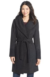 Women's Calvin Klein Boucle Trim Hooded Wrap Coat Charcoal