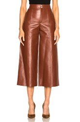Saint Laurent Leather Slouch Culottes In Brown