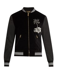 Dolce And Gabbana Embroidered Velvet Bomber Jacket Black