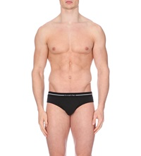 Zegna Branded Stretch Cotton Briefs Pack Of Two Black