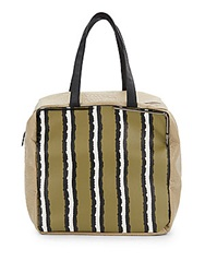 French Connection Striped Prim Lady Large Tote Seagrass