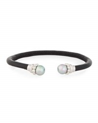Majorica Leather And Pearl Bangle Bracelet Black Gray