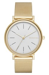 Skagen Women's 'Hald' Round Mesh Strap Watch 34Mm Gold White